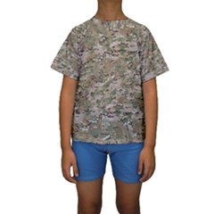 Camo Woodland Faded Kid s Short Sleeve Swimwear