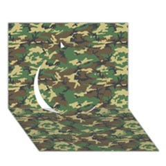 CAMO WOODLAND Circle 3D Greeting Card (7x5)