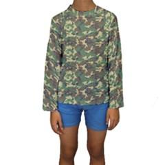 Camo Woodland Kid s Long Sleeve Swimwear