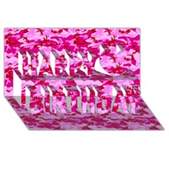 Camo Pink Happy Birthday 3d Greeting Card (8x4)