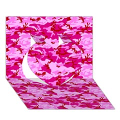 Camo Pink Heart 3d Greeting Card (7x5)