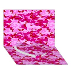 CAMO PINK Heart Bottom 3D Greeting Card (7x5)