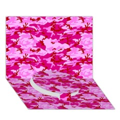 Camo Pink Circle Bottom 3d Greeting Card (7x5)