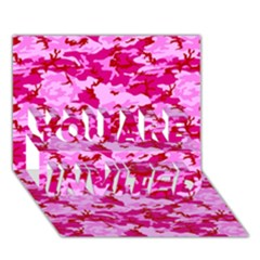 CAMO PINK YOU ARE INVITED 3D Greeting Card (7x5)