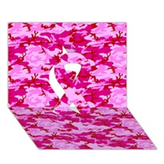 Camo Pink Ribbon 3d Greeting Card (7x5)