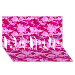 Camo Pink Believe 3d Greeting Card (8x4)