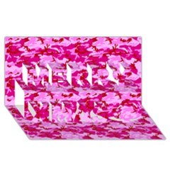 CAMO PINK Merry Xmas 3D Greeting Card (8x4)