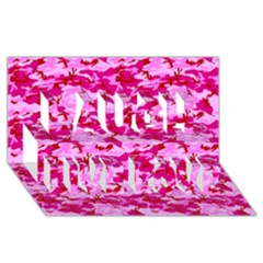 CAMO PINK Laugh Live Love 3D Greeting Card (8x4)