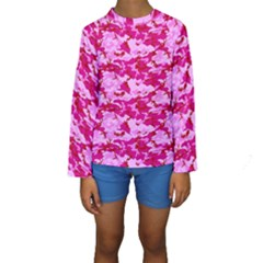 Camo Pink Kid s Long Sleeve Swimwear