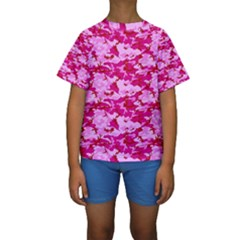 CAMO PINK Kid s Short Sleeve Swimwear