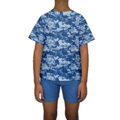 Camo Navy Kid s Short Sleeve Swimwear