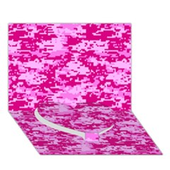 CAMO DIGITAL PINK Heart Bottom 3D Greeting Card (7x5)