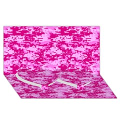 Camo Digital Pink Twin Heart Bottom 3d Greeting Card (8x4)