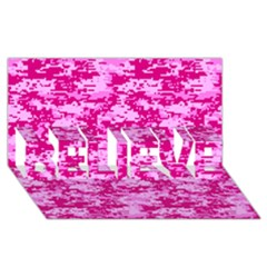 CAMO DIGITAL PINK BELIEVE 3D Greeting Card (8x4)