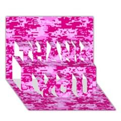 Camo Digital Pink Thank You 3d Greeting Card (7x5)