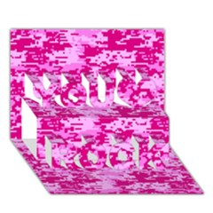 Camo Digital Pink You Rock 3d Greeting Card (7x5)