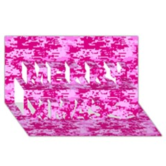 Camo Digital Pink Merry Xmas 3d Greeting Card (8x4)