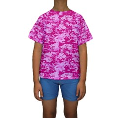 CAMO DIGITAL PINK Kid s Short Sleeve Swimwear