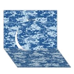 Camo Digital Navy Circle 3d Greeting Card (7x5)