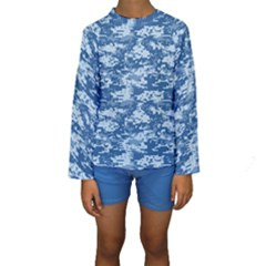 Camo Digital Navy Kid s Long Sleeve Swimwear