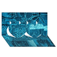 Blue Patchwork Twin Hearts 3d Greeting Card (8x4)