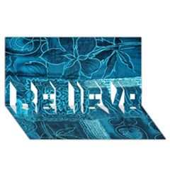 BLUE PATCHWORK BELIEVE 3D Greeting Card (8x4)