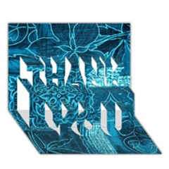 Blue Patchwork Thank You 3d Greeting Card (7x5)