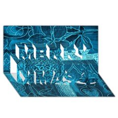 BLUE PATCHWORK Merry Xmas 3D Greeting Card (8x4)
