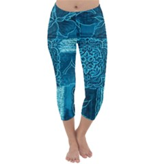 Blue Patchwork Capri Winter Leggings
