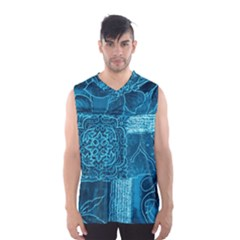 BLUE PATCHWORK Men s Basketball Tank Top