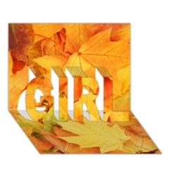 Yellow Maple Leaves Girl 3d Greeting Card (7x5)