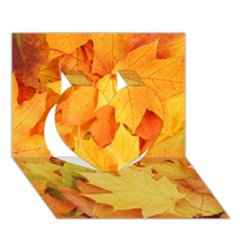 YELLOW MAPLE LEAVES Heart 3D Greeting Card (7x5)