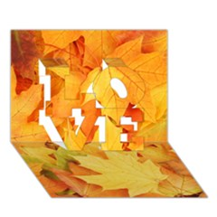 Yellow Maple Leaves Love 3d Greeting Card (7x5)