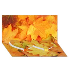 Yellow Maple Leaves Twin Heart Bottom 3d Greeting Card (8x4)