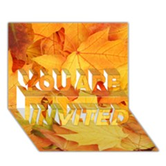 Yellow Maple Leaves You Are Invited 3d Greeting Card (7x5)