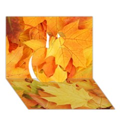 Yellow Maple Leaves Apple 3d Greeting Card (7x5)