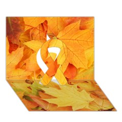 YELLOW MAPLE LEAVES Ribbon 3D Greeting Card (7x5)
