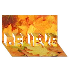 Yellow Maple Leaves Believe 3d Greeting Card (8x4)