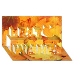YELLOW MAPLE LEAVES Best Wish 3D Greeting Card (8x4)