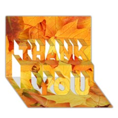 Yellow Maple Leaves Thank You 3d Greeting Card (7x5)