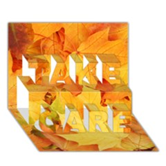 Yellow Maple Leaves Take Care 3d Greeting Card (7x5)