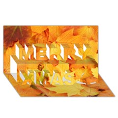 Yellow Maple Leaves Merry Xmas 3d Greeting Card (8x4)