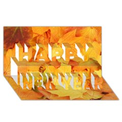 Yellow Maple Leaves Happy New Year 3d Greeting Card (8x4)