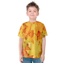 YELLOW MAPLE LEAVES Kid s Cotton Tee