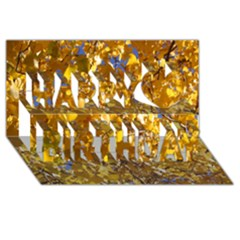 YELLOW LEAVES Happy Birthday 3D Greeting Card (8x4)