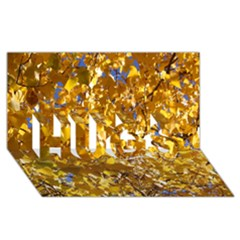 Yellow Leaves Hugs 3d Greeting Card (8x4)