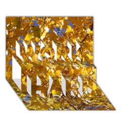 Yellow Leaves Work Hard 3d Greeting Card (7x5)
