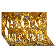 Yellow Leaves Happy New Year 3d Greeting Card (8x4)
