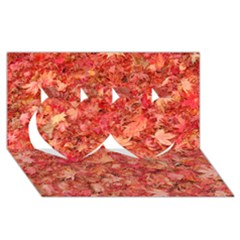 Red Maple Leaves Twin Hearts 3d Greeting Card (8x4)