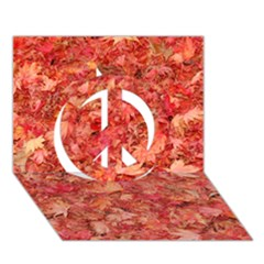 Red Maple Leaves Peace Sign 3d Greeting Card (7x5)